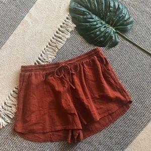 Rust linen shorts